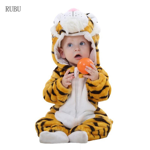 New born Baby Clothes Toddler Flannel Boys Clothes Animal Jumpsuits Infant Girl Rompers Baby Clothing Tiger Pajamas Costumes - babiesrhere