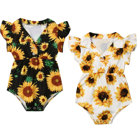 Toddler Kids Baby Girls Sunflower Bodysuits Summer Fashion Flying Sleeve V-Neck Jumpsuit Girls Floral V-Neck Cotton Sunsuit 0-4Y - babiesrhere