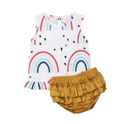 Pudcoco Newborn Infant Baby Girls Clothes Rainbow Print Sleeveless Vest Top T-Shirt Ruffle Shorts 2Pcs Summer Kids Outfit Set - babiesrhere