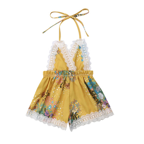 Newborn Baby Girl Lace Floral Sleeveless Backless Romper Jumpsuit Sunsuit Outfit - babiesrhere