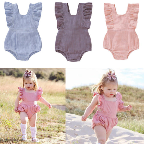 2019 Infant Baby Girl Bodysuit Jumpsuit Sleeveless Ruffles Solid Toddler Clothes Summer Newborn Baby Girl Clothing Sunsuit - babiesrhere