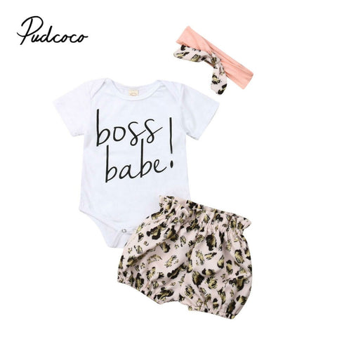3Pcs/set Baby Girl Clothes Casual Leopard print Baby Romper+Short Pants+Headband Infant Clothing Outfit Summer Newborn Clothes - babiesrhere