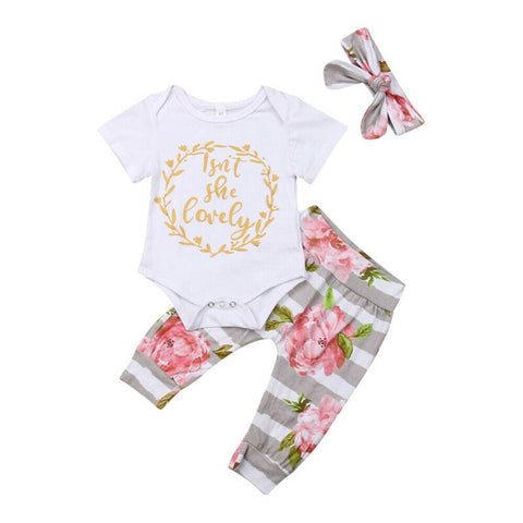 Newborn Baby Girls Clothes Sets 0-12M Lovely Summer Short Sleeve Letter Bodysuit Floral Pants Headband 3Pcs Baby Outfits 0-18M - babiesrhere