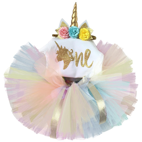Newborn 2019 Flower Party Clothes Set Baby Girl One Years First Birthday Tutu Outfits for Girls Tulle Toddler Baby Clothing Suit - babiesrhere