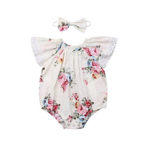 Toddler Summer Clothes Short Sleeves Bodysuits Baby Girls Outfits Lace Flowers Sunsuit Bow Headband 2Pcs Baby Girl Sets 0-24M - babiesrhere