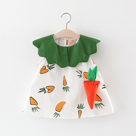 2019 Summer Baby Girls Cute Sleeveless Radish Print Sundress Princess Party Kids Dress + Bag vestido infantil - babiesrhere