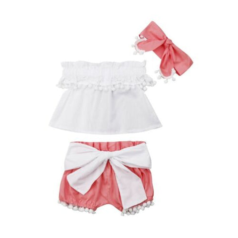 3PCS Summer Newborn Baby Girls Cotton Clothes Princess Sleeveless Tops +Bow Shorts +Headband Outfits Summer Set 0-24M - babiesrhere
