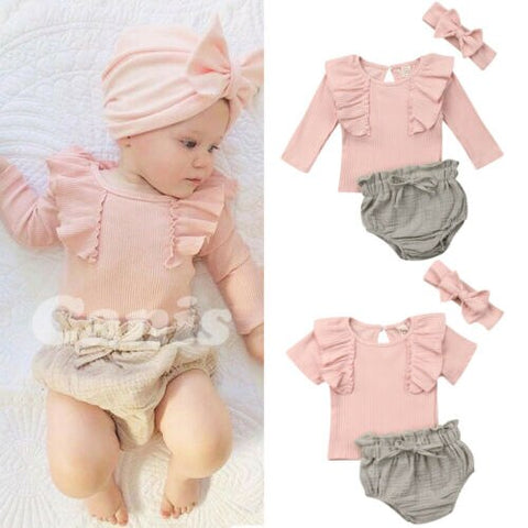 3PCS Solid  Baby Girls Short Sleeve Solid Cotton O neck Tops T-Shirt Shorts Headband Outfits Summer Clothes Set - babiesrhere