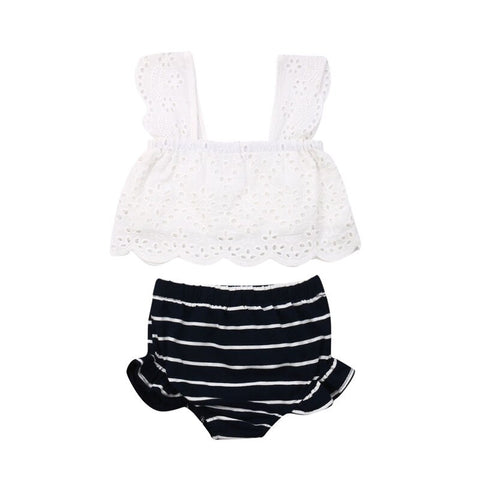 Cute Summer Newborn Baby Girl Clothes 2Pcs Sets Lace Strap Vest Tops Striped Elastic Waist Shorts Baby Girl Cotton Outfits 0-24M - babiesrhere