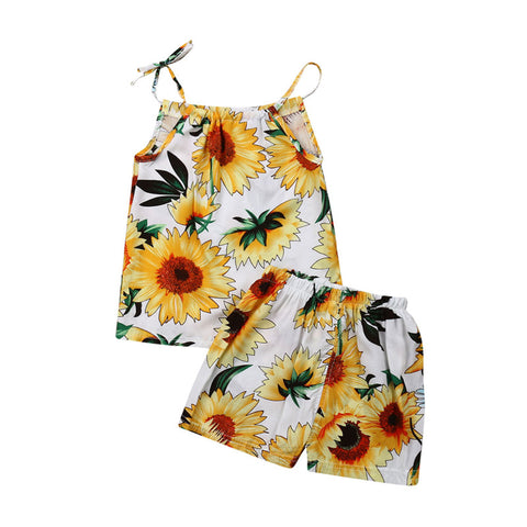 Newborn Baby Girl Summer Sunflower Clothes Sets Sleeveless Strap Tank Tops Elastic Waist Shorts 2Pcs Girl Cotton Outfits 3-24M - babiesrhere