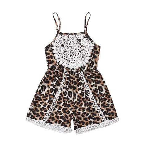 Kids Baby Girl Leopard Romper Fashion Sleeveless Lace Flower Sling Jumpsuit Summer Girls High Waist Cotton Playsuits 6M-3Y - babiesrhere