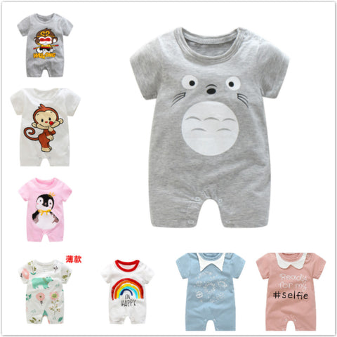 Summer Newborn Baby Boy Clothes Short Sleeved Girls Dress Baby Pajama Boys Animal Monkey Bear Duck Rompers Baby Girl Boy Clothes - babiesrhere