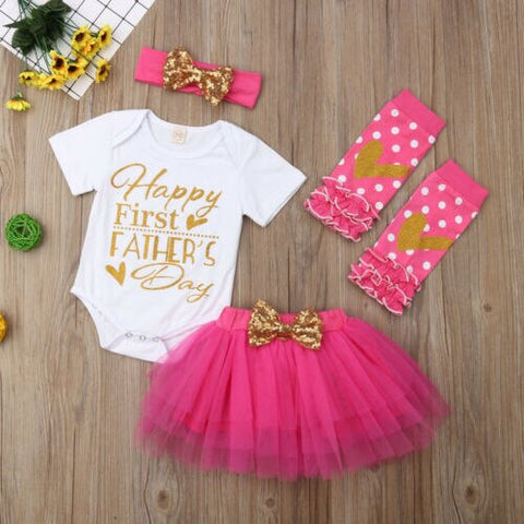 Father's Day Clothes Baby Girl Sets Newborn Cute Letter Romper+Tulle Tutu Skirt+Leg Warmer+Headband 4Pcs Baby Girl Outfits 0-18M - babiesrhere