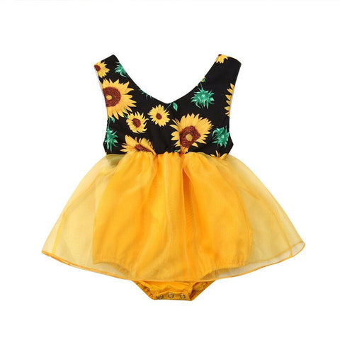 Baby Girl Sunflower Princess Bodysuits Fashion Newborn Clothes Sleeveless Strappy Sunsuits V-Neck Backless Tulle Bodysuit 0-18M - babiesrhere