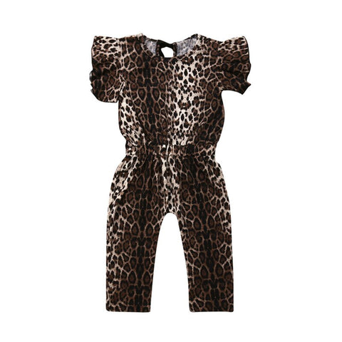 Kids Baby Girls Leopard print Romper Summer Fashion Flying Sleeve O-Neck Jumpsuit Child Girl Cotton Elastic Wasit Sunsuits 1-5Y - babiesrhere