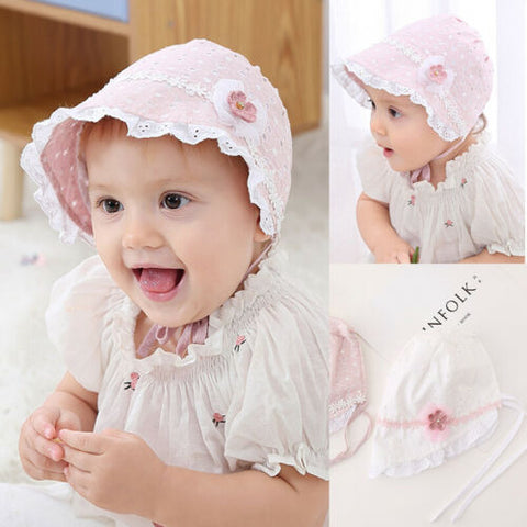 Baby Girls Outdoor Flower lace bucket Hats princess Sun Beach Bonnet basin Cap - babiesrhere