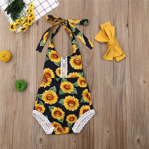Baby Girls Sunflower Sets Fashion Summer Sleeveless Floral Bodysuit Halter Belt Backless Jumpsuit Headband 2Pcs Baby Sets 0-18M - babiesrhere