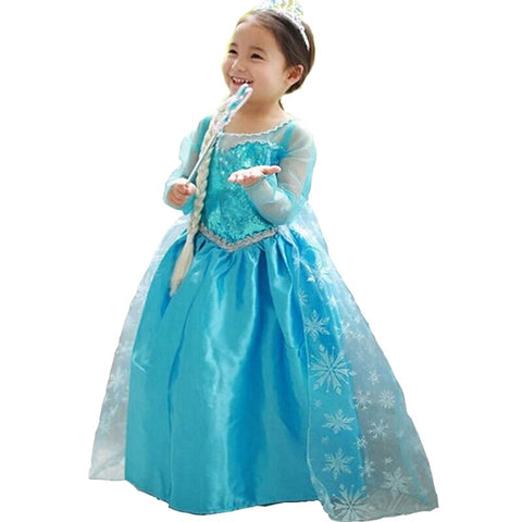 Baby Girl Anna Elsa Dress Cosplay Princess Sleeping Beauty Costume Kids Dresses for Girls Clothing Teenage Girl Clothes 8 10Yrs - babiesrhere