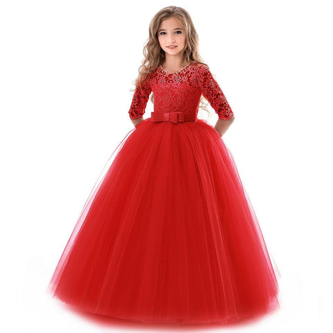 2018 New Teenage Girl Princess Lace Solid Dress Kids Flower Embroidery Dresses For Girls Children Prom Party Wear Red Ball Gown - babiesrhere
