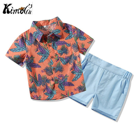 Kimocat Summer with short sleeves baby boy clothes Casual shirt leaf pattern Short sleeved shorts suit newborn baby boy - babiesrhere