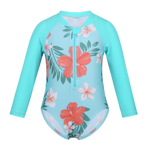 FEESHOW Toddler&Infant Baby Girl Swimwear Long Sleeve Floral Sun Suit Kids Swimsuit Children One Piece Bathing Suit 2019 Summer - babiesrhere