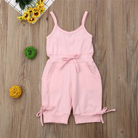 Kids Baby Girl Romper Sleeveless Strappy V-Neck Jumpsuits 1-6Y Summer Brief Solid Girl Bib Pants Playsuits Cotton Clothes 1-6Y - babiesrhere