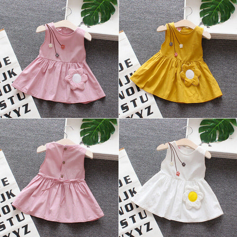 Newborn Infant Baby Girls Dress Flower  Sleeveless Party Dresses Casual Sundress Cute Flower Princess Sleeveless Dress Sundress - babiesrhere