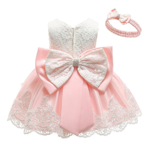 2019 summer infant Baby Girl Dress Lace Big bow Pink Baptism Dresses for Girls 1st year birthday party wedding baby clothing - babiesrhere