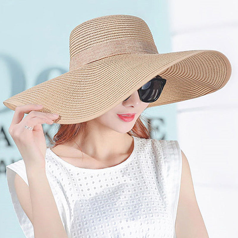ef3f1c773 ... Summer Sun Hats For Women Large Brim With Ribbons Bow Beach Hat Cap Ladies  Sun Hat ...