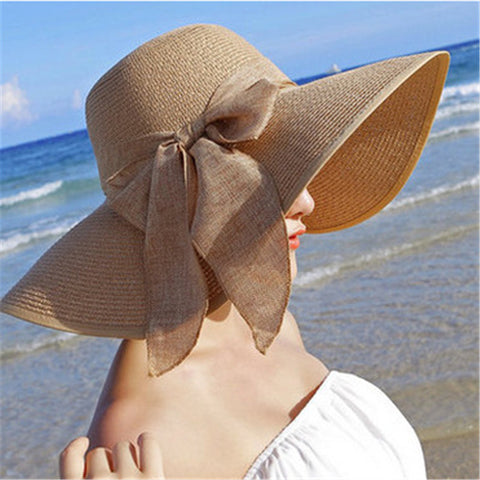 Summer Sun Hats For Women Large Brim With Ribbons Bow Beach Hat Cap Ladies Sun Hat - babiesrhere
