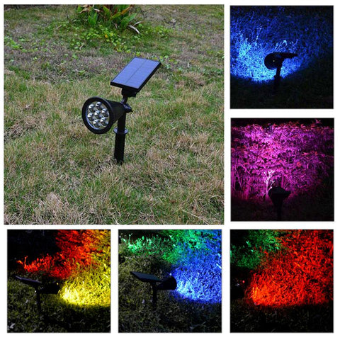 LED Solar Light ABS Waterproof IP65 7 LED Color Change Solar Power Garden Lamp Spotlight Lawn Landscape Outdoor Christmas Decor