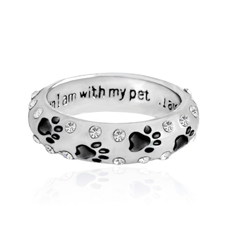 paw ring dog for w clip tags steel o print collar rings pet key memorial id dogs tag carabiner attach stainless