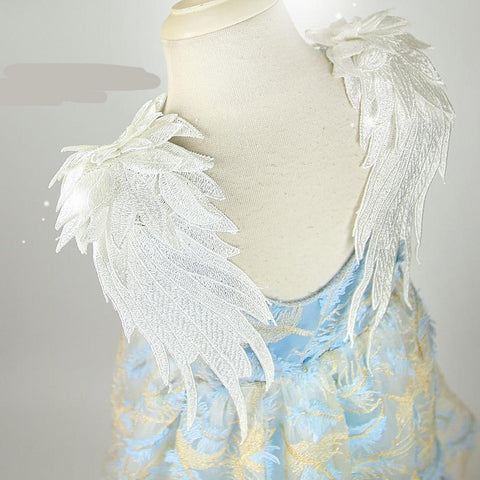 3D Wings Feather Embroidery Toddler Baby Girls Dress, Summer Princess dresses - babiesrhere