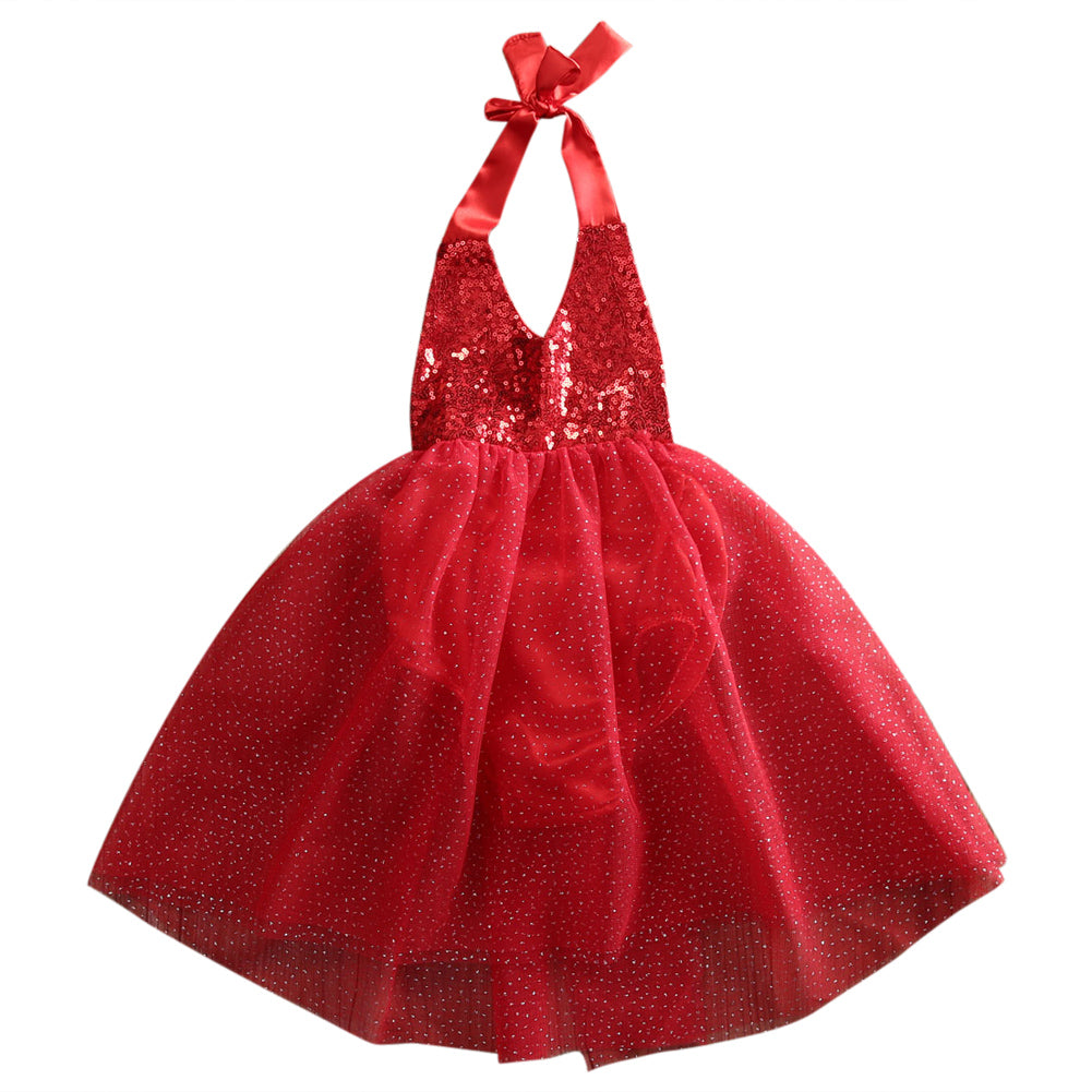 Lovely Baby Girls Sequins Tulle Bow Tutu Gown Formal Party Dresses