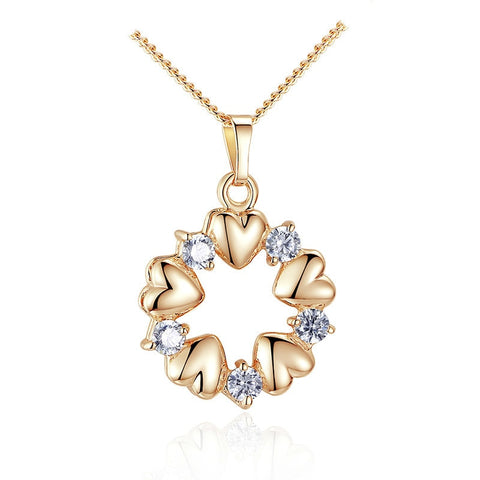 Luxury Gold Color Heart Necklaces & Pendants with AAA Zircon For Women