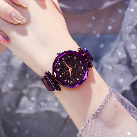 Luxury Ladies Magnetic Starry Sky Clock Fashion Diamond Female Quartz Watches - babiesrhere
