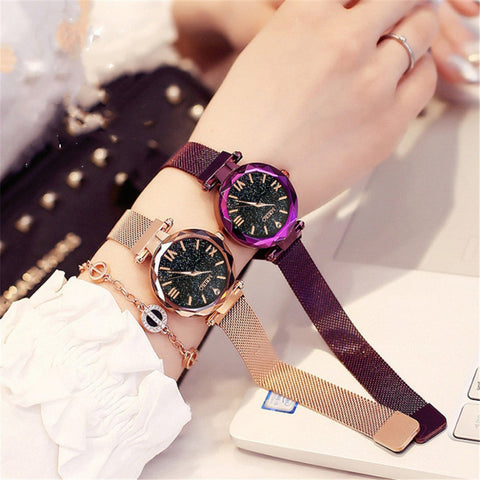 Stainless Steel Band Magnet Buckle Starry Sky Women Clock  Fashion Trends Quartz Watch - babiesrhere