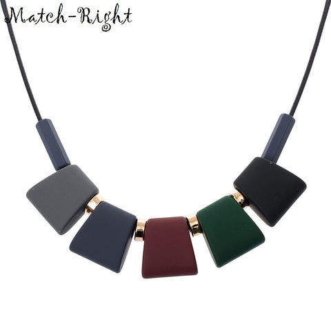Match-Right Women Necklace Statement Necklaces & Pendants Colorful Wood Beads Jewelry - babiesrhere