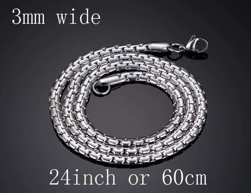 Meaeguet Stainless Steel Snake Chain 20/24inch Wholesale Customized Jewelry  Silver Color Necklace