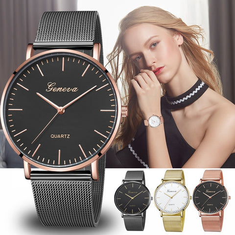 Modern Fashion Black Quartz Watch Men Women Mesh Stainless Steel Watchband High Quality Casual Wristwatch Gift for Female - babiesrhere