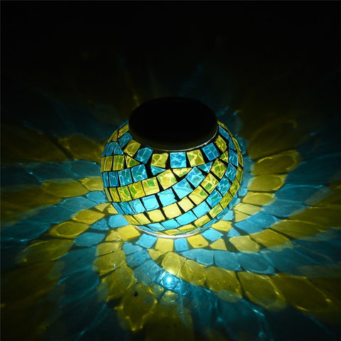 Mosaic Glass Ball Garden Lights Color Changing LED Solar Light Waterproof Solar Powered Table Lamps for Parties Decorations Xmas - babiesrhere
