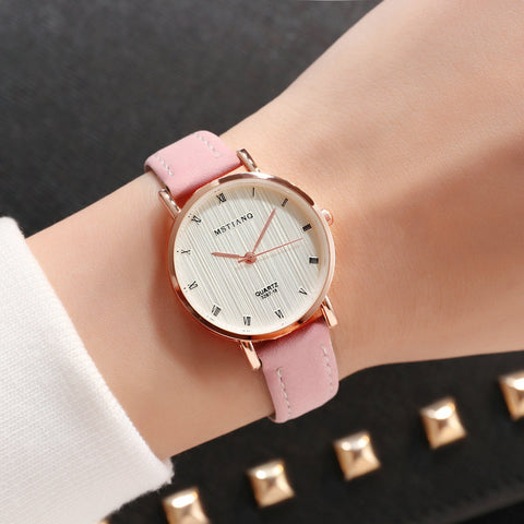 Fashion Casual Womens Simple Style Quartz Leather Strap Wristwatch Ulzzang Watch - babiesrhere