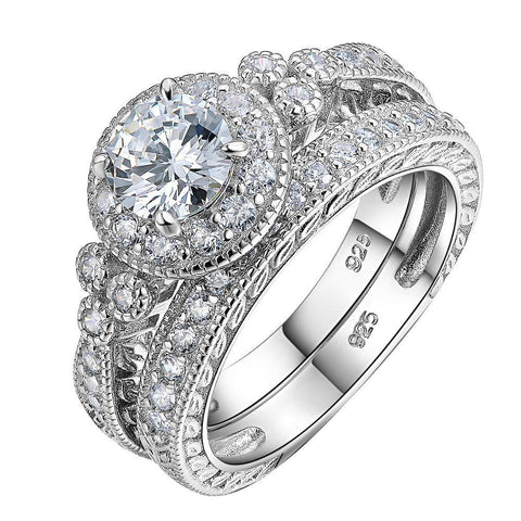 Sterling Silver Halo Wedding Ring Sets Engagement Band Classical Jewelry For Women
