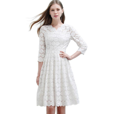 Women Slim White Lace Dress Hollow Out Draped Lap Half Sleeve Casual Long Dresses
