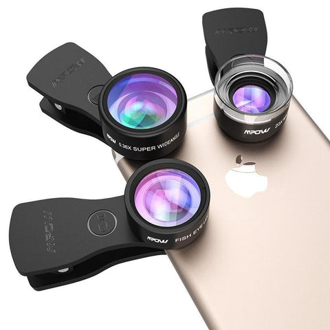 Phone Camera Lens Kits 180 Degree Fisheye Lens + 0.36X Wide Angle + 20X Macro Lens for Cellphones