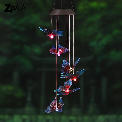 Outdoor LED Solar Lamp Hummingbirds dragonfly Wind Home Garden Decor Solar Light Solar Powered Color-Changing Wind Chime Light - babiesrhere