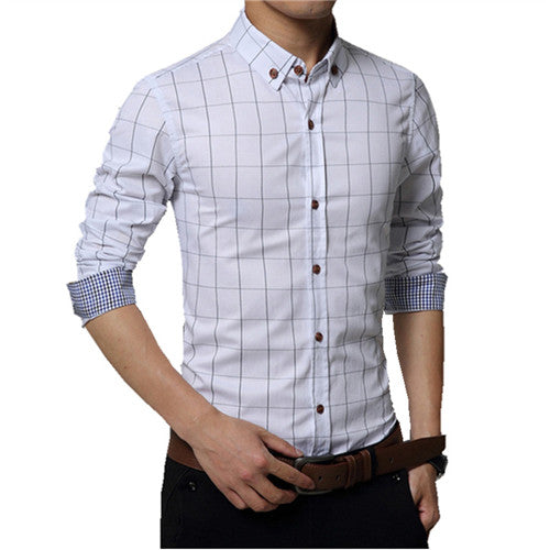 aaff2bc71a0 Men's Plaid 100% Cotton Dress Shirts Male Long Sleeve Slim Fit Business  Casual Shirts
