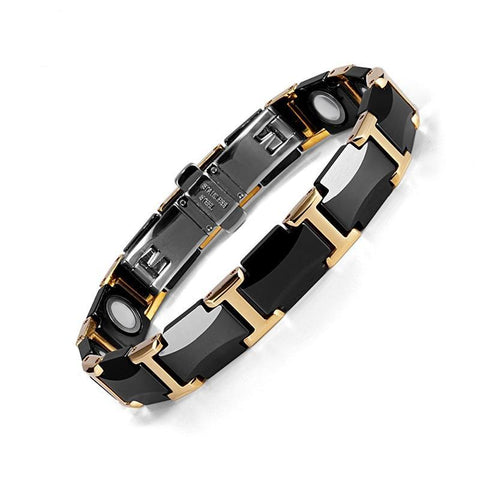 Black Ceramic Tungsten Steel Charm Magnetic Health Care Link Bracelets for Women - babiesrhere