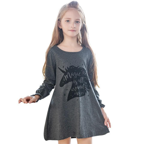Kid Dress for Girl Cartoon Girls Dress Unicorn Children Clothing Winter Cute Toddler - babiesrhere
