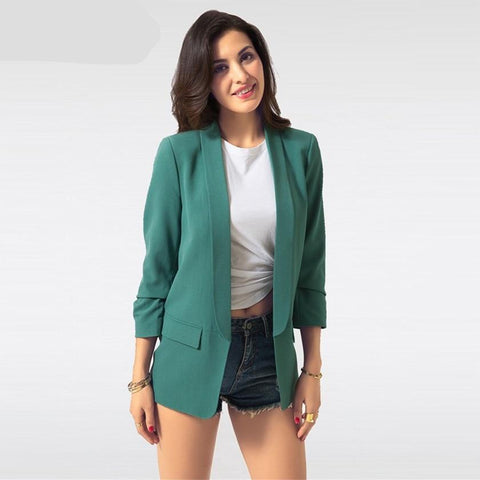 Spring Women Blazer Jacket Fashion 2018 Brand None Button Work Office Lady Suit - babiesrhere
